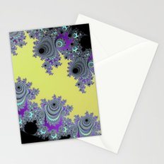 Asymmetrical Fractal in Yellow, Black and Purple Stationery Cards