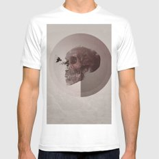 Skull Abstract #crow MEDIUM White Mens Fitted Tee