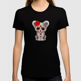 Red and Yellow Day of the Dead Sugar Skull White Lion Cub T-shirt