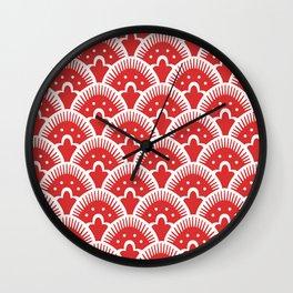 Fan Pattern Red 201 Wall Clock