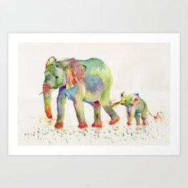 Colorful Elephant Family Art Print