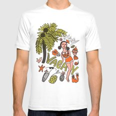 Vacay White MEDIUM Mens Fitted Tee
