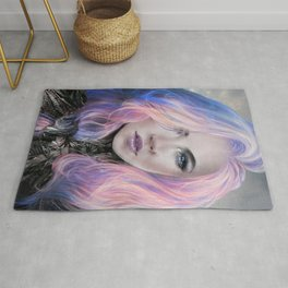 Futuristic sci-fi girl with pink hair portrait Rug