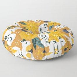 Squirrels & Blooms – Ochre Floor Pillow