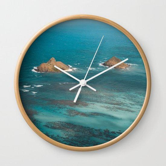 Na Mokulua Islands Off Oahu's Coast Wall Clock By Tasha