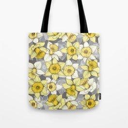 Daffodil Daze - yellow & grey daffodil illustration pattern Tote Bag