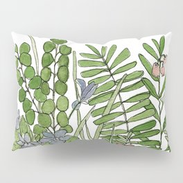 Watercolor Woodland Ferns and Violets Delicate Detailed Nature Art Pillow Sham