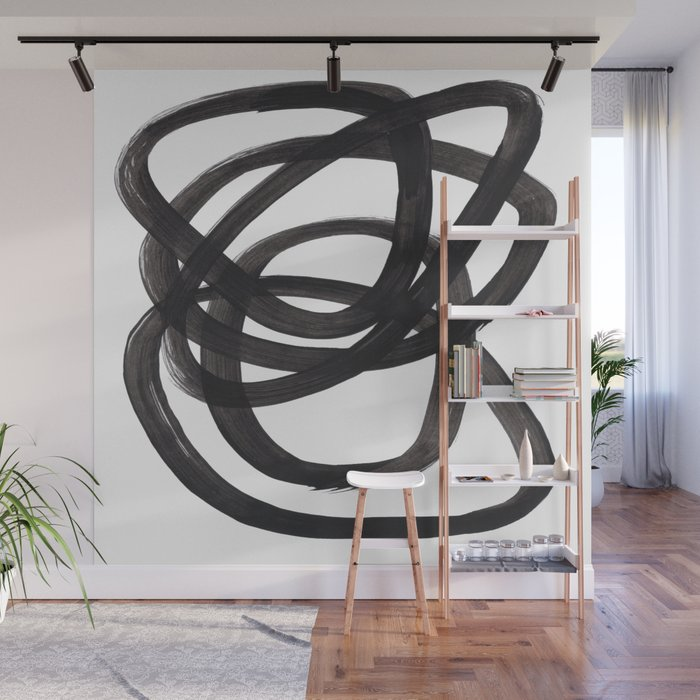 Black And White Minimalist Mid Century Abstract Ink Art Circle Swirls Black Circles Minimal Wall Mural