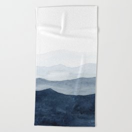 Indigo Abstract Watercolor Mountains Beach Towel