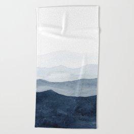 Indigo Abstract Watercolor Mountains Beach Towel
