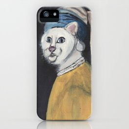 cat with a pearl earring iPhone Case