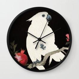 Ohara Koson, White Cockatoo And Pomegranate - Vintage Japanese Woodblock Print  Wall Clock