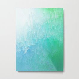 Rainforest - Blue & Green Glitch Metal Print