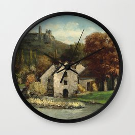 "Gustave Courbet ""The Mill of Scey-en-Varais (Le Moulin de Scey-en-Varais)"" Wall Clock"