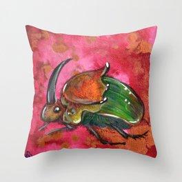Rainbow Scarab Throw Pillow