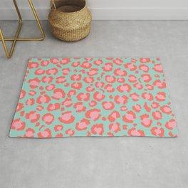 Coral  Leopard Print on Blue background | Living Coral design Rug