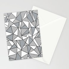 Abstract Lines With Grey Blocks Stationery Cards