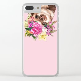 Flower Crown Baby Sloth in Pink Clear iPhone Case