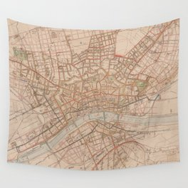 Vintage Map of Frankfurt Germany (1880) Wall Tapestry