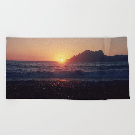 Crash into me - Romantic Sunset @ Beach #1 #art #society6 Beach Towel