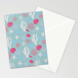 In te Sea - Green pastel Stationery Cards