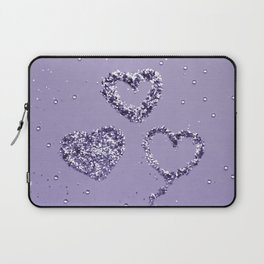 Ultra Violet LOVE Glitter Hearts #1 #shiny #decor #art #society6 Laptop Sleeve