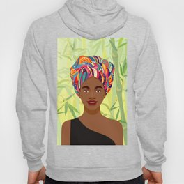 Set of young attractive african american women, Landscape of bamboo stems and leaves background. 1/3 Hoody