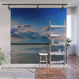 Leaving Harwich, peaceful seascape with dramatic god-rays Wall Mural