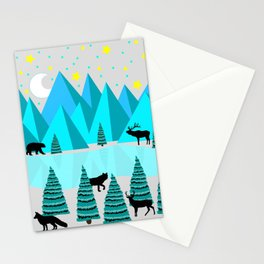 Abstract mountain scene Stationery Cards
