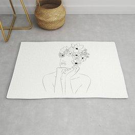 Dame fleur-Floral Illustration Woman, got the idea Rug