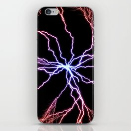Electrical Lightning Discharge Blue to Red iPhone Skin