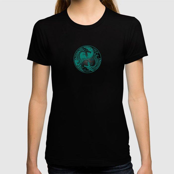 Teal Blue and Black Yin Yang Dragons T-shirt