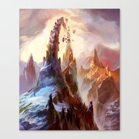 magic the gathering Canvas Prints featuring Mountain - Magic: The Gathering by vmeignaud