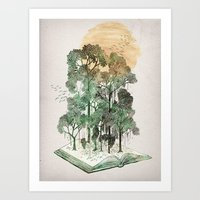 trees Art Prints featuring Jungle Book by David Fleck