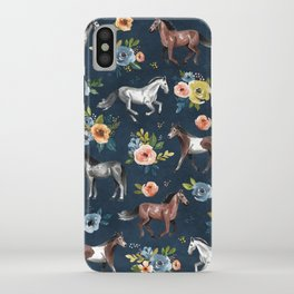 Wild Horses, Horse and Floral Print, Navy Blue, Watercolor Painting, Illustrated Horses, Flowers,  iPhone Case