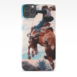 "Vintage Western Painting ""Bucking"" by N C Wyeth iPhone Case"