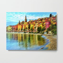 Cote d'azur, Menton France at Morning Landscape Painting by Jeanpaul Ferro Metal Print