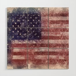 US Flag vintage worn out Wood Wall Art