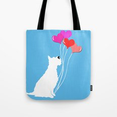 Schnauzer Dog with balloons Tote Bag