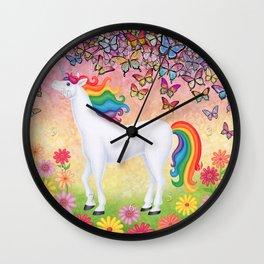 whimsy (rainbow unicorn), butterflies, African daisies Wall Clock