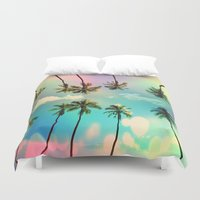 palm trees Duvet Covers featuring Palm trees  by mark ashkenazi