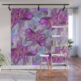 PURPLE AMETHYST & QUARTZ CRYSTALS FEBRUARY GEMS Wall Mural