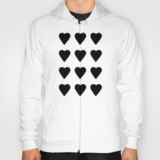 16 Hearts White on Black Hoody