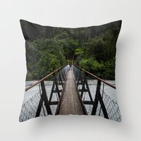 bridge Throw Pillows featuring Bridge by Michelle McConnell