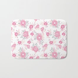 Pink pastel florals cute nursery baby girl decor floral botanical bouquet blooms Bath Mat