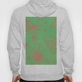 Pink Lily Flower Pattern on Sweet Green Hoody