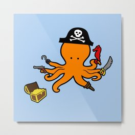 Octopus Pirate Metal Print