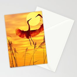 Marvelous Stunning Birds Dancing In The Air At Phenomenal Dusk UHD Stationery Cards