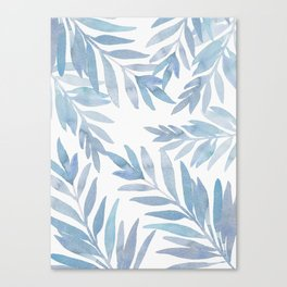 Muted Blue Palm Leaves Canvas Print