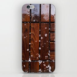 Cool Wooden Plywood texture with Snowy droplet iPhone Skin